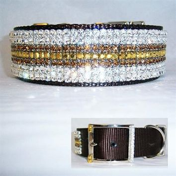 Golden Luxury Rhinestone Large Dog Collar