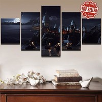 Harry Potter School Castle Hogwarts 5 Panel Canvas Wall Art Picture Print