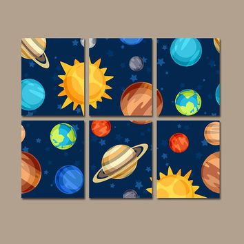 OUTER SPACE Wall Art, PLANETS Theme, Canvas or Prints, Big Boy Bedroom Decor, Galaxy Wall Decor, Set of 6, Space Decor Wall Decor Wall Decor