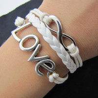 silvery infinity love bracelet with white ropes leather women jewelry bangle men leather bracelet  unisex bracelet  1360A