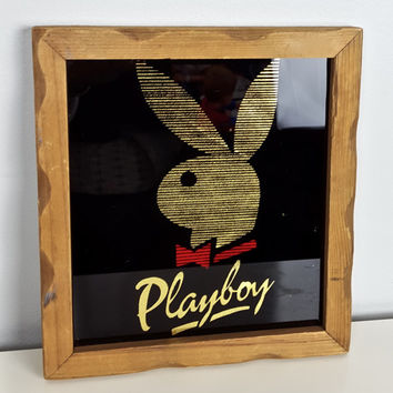 Vintage Playboy Sign Framed Black Gold Red, Glam Chic Playboy Bunny, Gold Playboy Bunny Wall Hanging, Vintage Playboy Art, Vintage Decor