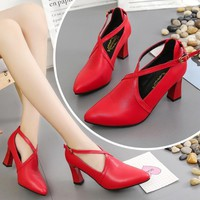 Leather Women Round Toe Pumps Fashion Solid Female High Square Heels Shoes Buckle Design Casual Dress Shoes For Ladies Z360