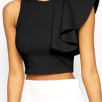 Black One Shoulder Ruffle Crop Tank Top