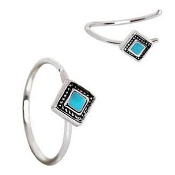 316L Stainless Steel Rhombus Cut Turquoise Nose Hoop / Cartilage Earring