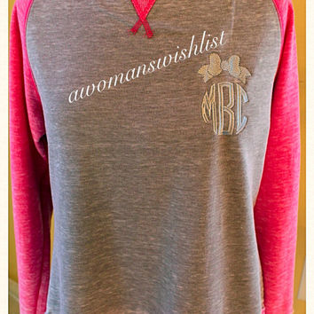 Monogrammed Fleece Raglan Sleeve Burnout Crewneck Sweatshirt
