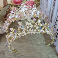 Brides Hair Jewelry Baroque Handmade Beaded Luxury Pink Gold Crowns Crystal Tiara Sweet Princess Tiaras Wedding Hair Accessories