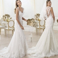 New Arrival Women White Trailing Lace Deep V Neck Backless Fishtail Wedding Dress Mermaid Bridal Gown