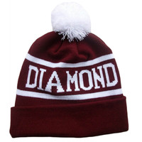 Diamond Supply Co Burgundy & White Pom Beanie