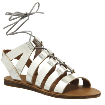 Office Odessa Lace Front Sandals Silver Leather - Sandals