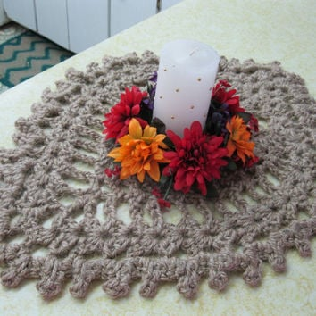 Crochet Table Runner - Jute Centerpiece - Large Jute Trivet - Natural Tablescape - Crochet Table Centerpiece - Natural Jute Doily