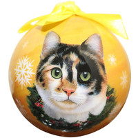 Calico Cat Christmas Ball Ornament