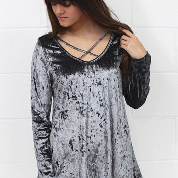 Heart Throb Crushed Velvet Strappy Blouse {Steel Grey}