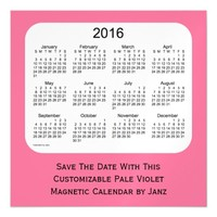2016 Pale Violet Calendar by Janz 5 x 5 Magnet Magnetic Invitations