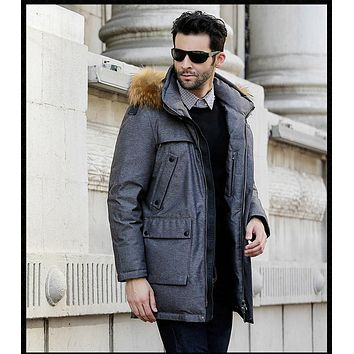 New Winter Collection Winter men Coat Jacket Down Parka with a Real Raccoon Fur Coat for men BUSINESS