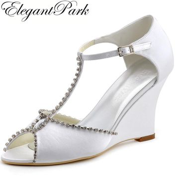 Woman Summer Sandals MC-032 Peep Toe Wedges Heels T-strap Rhinestones Satin Pumps Bride Bridesmaid Wedding Evening Bridal Shoes