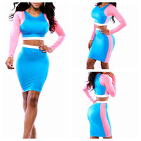 Blue and Pink Long Sleeve Cropped Top and Bodycon Skirt Set