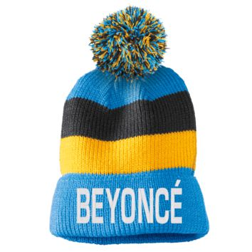 beyonce Striped Beanie with Removable Pom