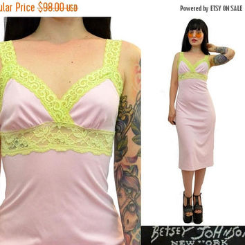 25%SALE vintage 90s betsey johnson party dress baby pink + lime green lace midi dress PASTEL GRUNGE kawaii 1990s cyber grunge cocktail dress