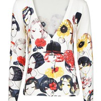 MapleClan Women's Printed Knit V Neck Button-Front Cardigan - 7007