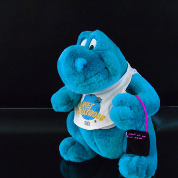 Planet Hollywood Miami Plush Dragon Bubba Aqua Dino Dinosaur Retired Mascot Stuffed Animal 10 inch Plush