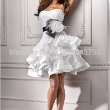 Elegant design!sexy Strapless Women Lace Prom Dresses Short Evening A-Line Formal Party Dress