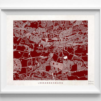 Johannesburg, Map, South Africa, Poster, Print, Beautiful, State, Nursery, Decor, Town, Illustration, Room, World, House, Street [NO 595]