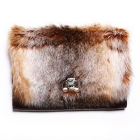 Faux Fur Oversize Clutch (Brown)