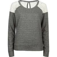 FULL TILT Lace Inset Womens Sweatshirt