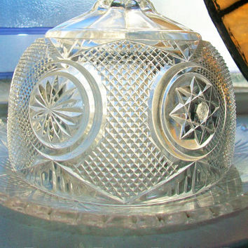 Antique Butter Dish Round Pressed Glass with Lid 1930s EAPG