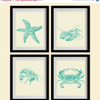 ON SALE Starfish & Shell Creatures Art Prints - Persian Green,Marine,Beige - Set of 4 - 8X10 - Starfish, Lobsters, Crabs, Hermit Crab - No.