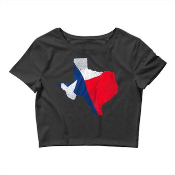 Eroded Texas Map With Flag Crop Top