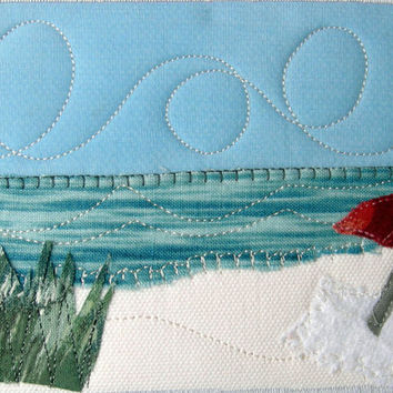 Fabric Postcard Beach Quilted Postcard Blue Water Ocean Landscape Beach Landscape Coast and Sand Greeting Card Ocean Beach Umbrella