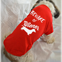Custom Dachshund Tank Top. Beware of Wiener Dog Shirt. Small Pet Clothes. Gift Idea for Dachshund Lover.