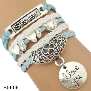 Best Friends Little Middle Big Sister Double Heart Infinity Love Charm Leather Wrap Bracelets for Women