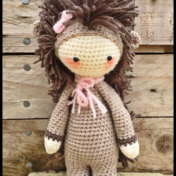 Handmade Crochet Amigurumi Polly Prickles Hedgehog Doll  - Lalylala- cute Gift idea - 11 inches tall