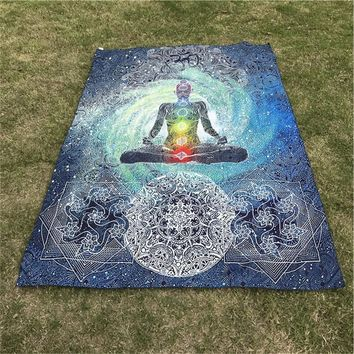 Bohemian 7 Chakra Tapestry Cloth Bedspread Dorm Cover Home Decorative Rug Picnic Mat Beach Towel