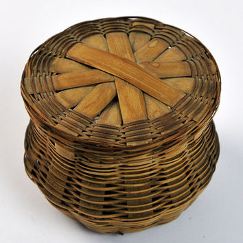 Antique Woven Reed Basket Lidded, 1940s