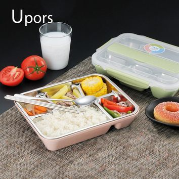 UPORS Leakproof Lunch Box Food Containers with Compartments 304 Stainless Steel Kids School Lunchbox Microwave Office Bento Box