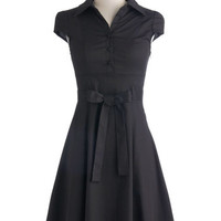 ModCloth Vintage Inspired Mid-length Cap Sleeves A-line Soda Fountain Dress in Cola