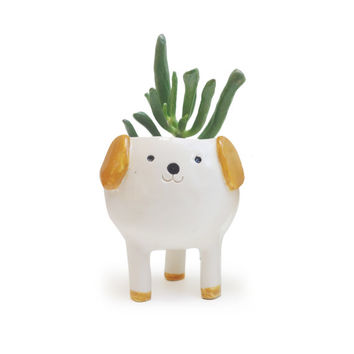 Cute Dog Planter, White Ceramics, Handmade Plant Pot