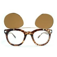steampunk flip up double lens print sunglasses