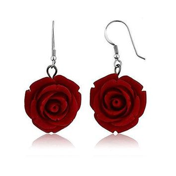 The Scarlett Rose Earrings 20MM 925 Sterling Silver Red Simulated Coral Carved Rose Flower Earrings
