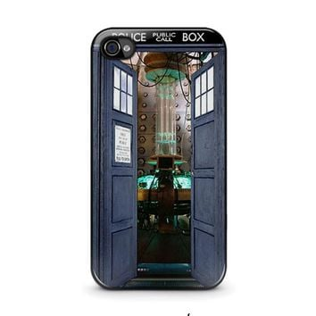 dr who tardis open the door iphone 4 4s case cover  number 1