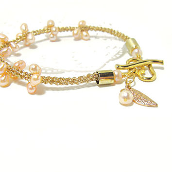 Pink Pearl bracelet Gold wire crochet tube Unique, Delicate, June Birthstone, Feminine bracelet Gift for here Israeli jewelry