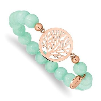 Stainless Steel Rose Gold Tree of Life Mint Green Jade Stretch Bracelet