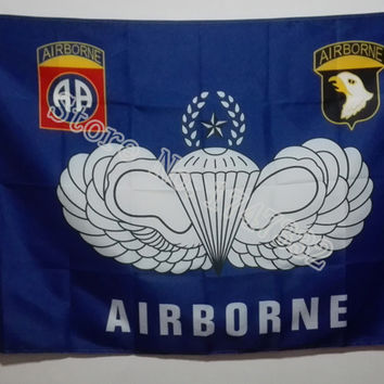 US Army Airborne 82nd and 101st Division All American Flag hot sell goods 3X5FT 150X90CM Custome Banner brass metal holes