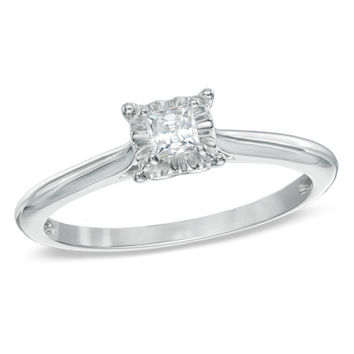 1/5 CT. Princess-Cut Diamond Solitaire Engagement Ring in 10K White Gold