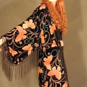 Mucha silk butterfly kimono / fringed velvet devore burnout robe / sheer hippie duster in black apricot & teal / deco Stevie Nicks coat