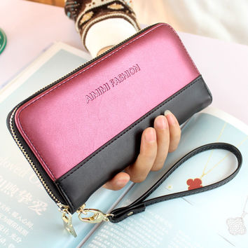 Wallet female 2016 New fashion brand purse wallet women panelled clutch purse; coin pouch Carteira pouch