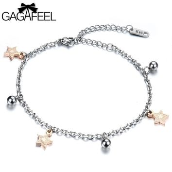 GAGAFEEL Stainless Steel Women Rose Gold Jewelry Lady Bell Charm Bracelet Cute Star Adjustable Ankle Chain Bangles OB778